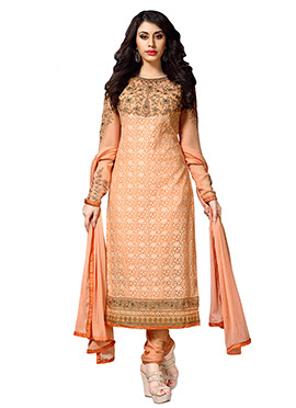 Peach Embroidered Chordia Suit
