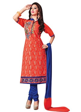 Peach Embroidered Cotton Churidar Suit