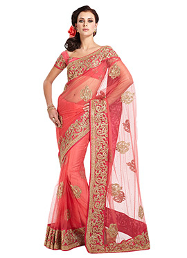 Peach Embroidered Net Saree