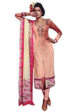 Peach Georgette Churidar Suit