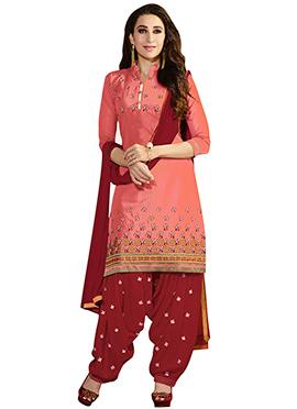 Peach Karisma Kapoor Patiala Suit
