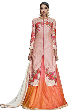 Peach Long Choli Lehenga