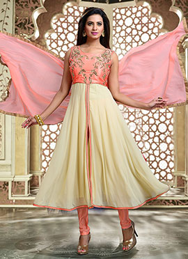 Peach N Beige Art Silk Georgette Anarkali Suit