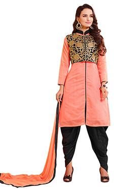 Peach N Black Chanderi Cotton Salwar Suit