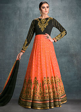 Peach N Black Georgette Anarkali Suit