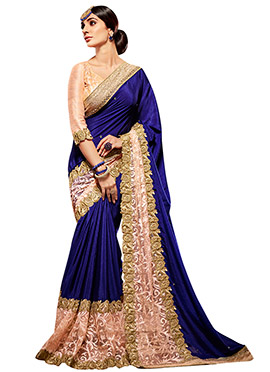 Peach N Blue Half N Half Saree