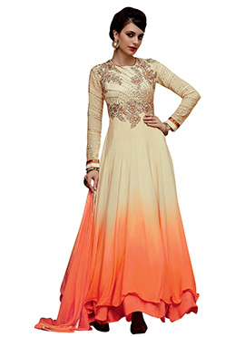 Peach N Cream Embroidered Anarkali Suit