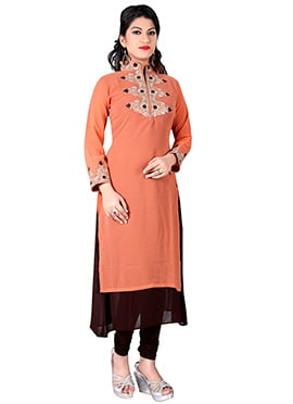 Peach N Dark Brown Georgette Kurti