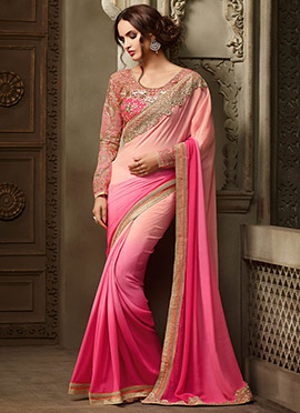 Peach N Pink Ombre Georgette Border Saree