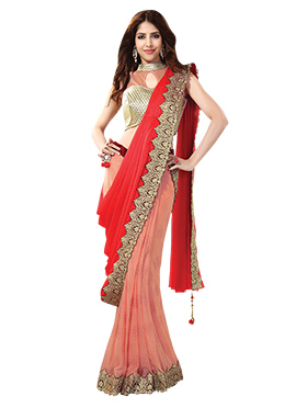 Peach N Red Half Half Saree