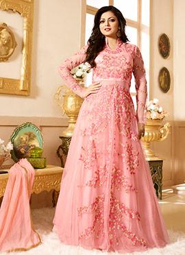 Peach Net Drashti Dhami Anarkali Suit
