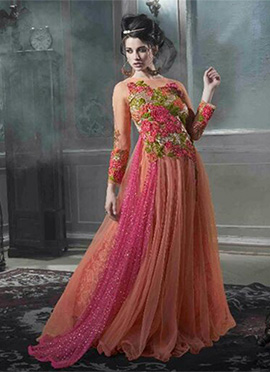 Peach Net Flared Gown