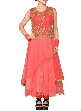 Peach Net Layered Anarkali Suit