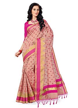 Peach Raw Silk Printed Saree
