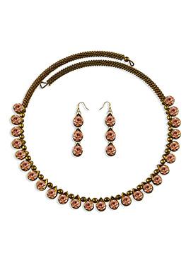 Peach Stone Embellished Choker Necklace Set