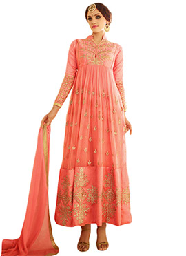 Peachish Orange Embroidered Anarkali Suit