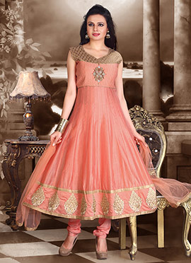 Peachish Pink Anarkali Suit
