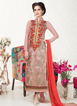 Peachish Pink Embroidered Straight Suit