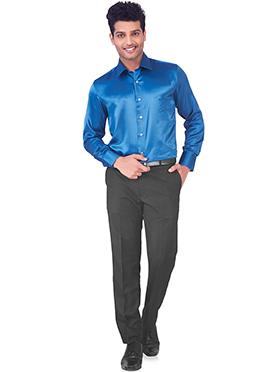 Peacock Blue Pure Silk Classic Shirt