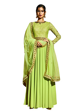 Pear Green Embroidered Anarkali Suit