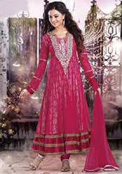 Peppy pink ankle length anarkali suit