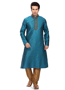 Persian Blue Art Silk Kurta Pyjama