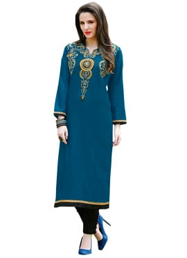 Persian Blue Cotton Embroidered Long Kurti