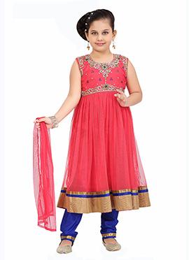 Pink Kids Anarkali