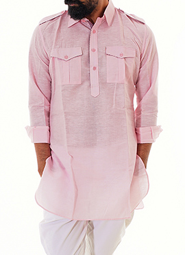 Pink Anshul Rajwansh Blended Cotton Kurta
