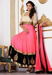 Pink Art Silk Ankle Length Anarkali Suit