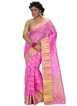 Pink Art Silk Jacquard Designed Saree