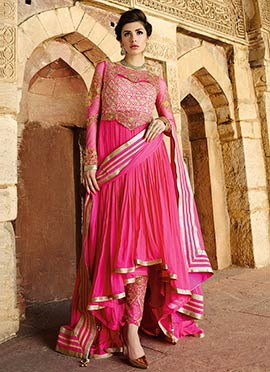Pink Asymmetric Anarkali Suit