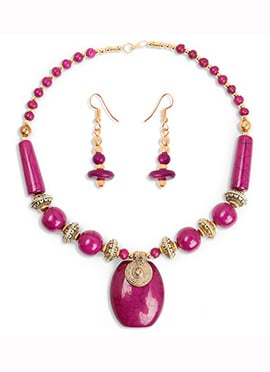Pink Beads Gold Plated Pendant Set