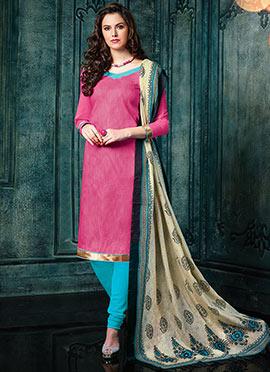 Pink Benarasi Jacquard Salwar Suit