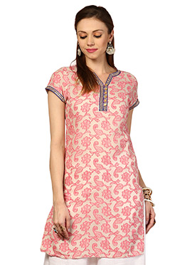 Pink Blended Cotton Ethnic Kurti from Home India