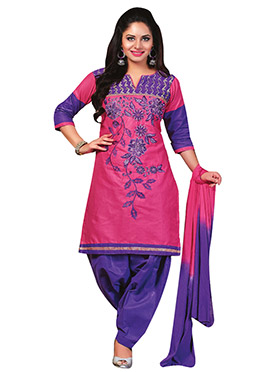 Pink Blended Cotton Salwar Kameez