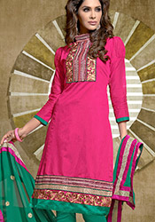 Pink Chanderi Cotton Salwar Suit