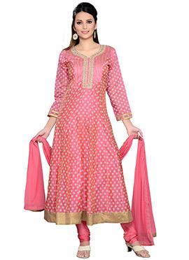Pink Chanderi Cotton Silk Anarkali Suit