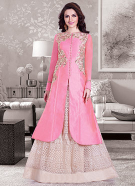 Pink Chanderi Long Choli Lehenga