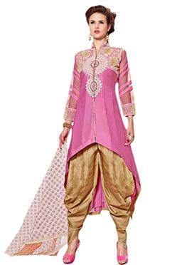 Pink Chanderi Patiala Suit