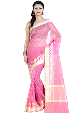 Pink Chanderi Saree