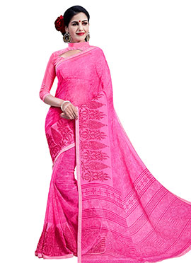 Pink Chiffon Foliage Patterned Saree
