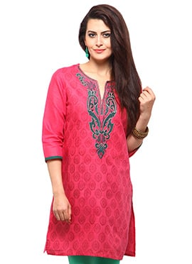Pink Cotton Casual Kurti from Home India