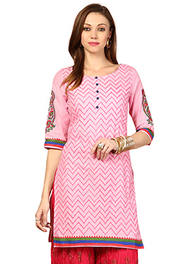 Pink Cotton Ethnic Kurti from Home India