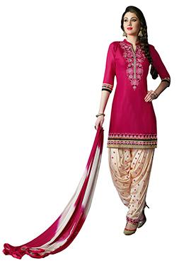 Pink Cotton Patiala Suit
