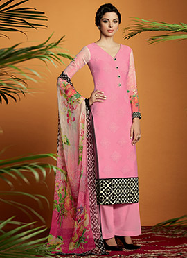 Pink Cotton Satin Embroidered Palazzo Suit