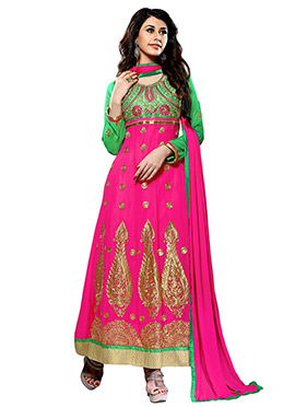 Pink Embroidered Ankle Length Anarkali Suit