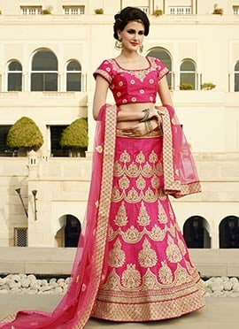 Pink Embroidered Art Silk Lehenga Choli