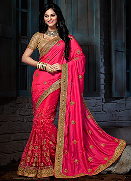 Pink Embroidered Crepe Silk N Net Saree