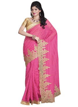 Pink Embroidered Net Scallop Border Saree